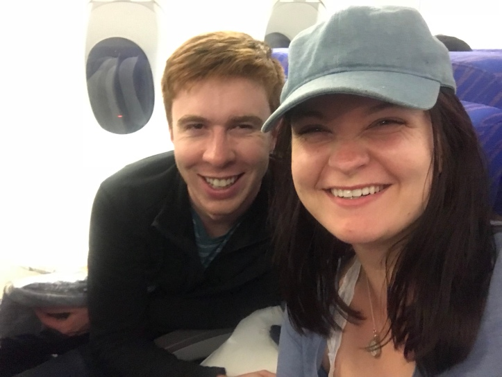 On the plane, pre-24 hours of travel to get to Taipei!